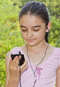 young girl watching video on phone