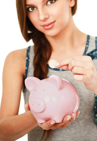 piggy bank and teen girl