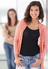 teen girl grinning