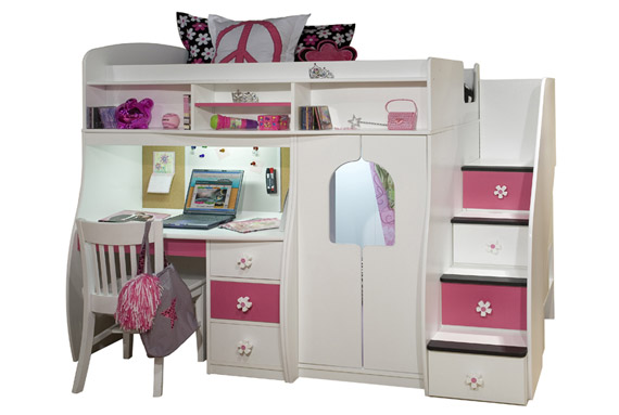 hideaway loft bed with built in desk