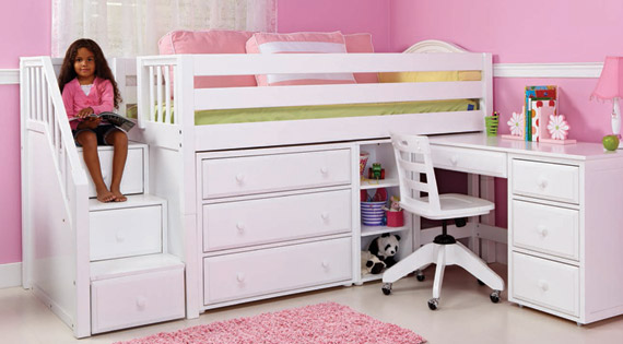 maxtrix staircase storage low loft bed for girls with desk