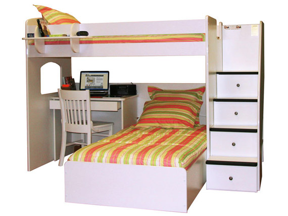 utica loft desk twin over twin bed