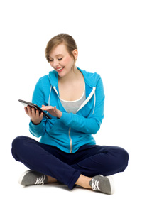 teen girl with tablet
