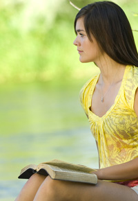 teen girl with bible