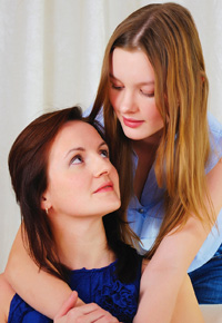 young teenage girl with mother