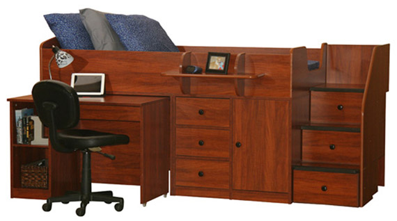 captain bed with pull out desk