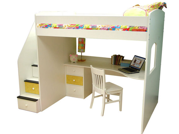 dorm loft bed with desk underneath