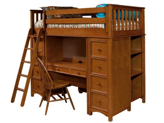 study ladder loft bed with desk